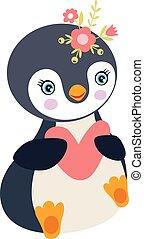 Cute penguin girl holding a heart