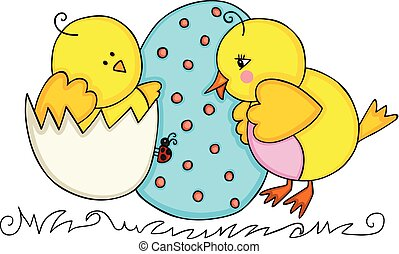 Easter cute chicks couple