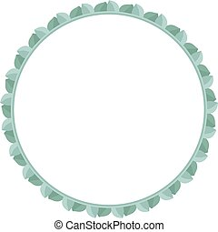 Empty round frame made of eucalyptus leaves