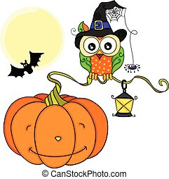 Halloween owl with orange pumpkin