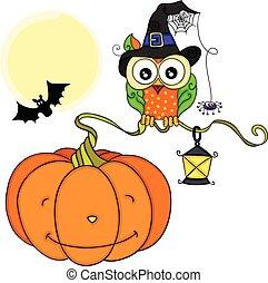 Halloween owl with orange pumpkin