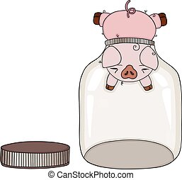 Scalable vectorial representing a Pig head stuck in empty glass transparent jar, element for design, illustration isolated on white background.