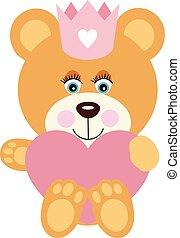Princess teddy bear with a pink heart