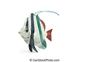 scalare angel fish made of wood on isolated background