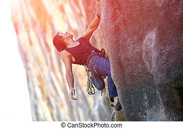 scalatore pietra, arrampicare, uno, scogliera