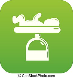 Scale baby icon green vector
