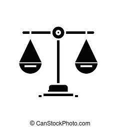 Scale black icon, concept illustration, vector flat symbol, glyph sign.