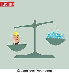 Scale compare between idea and money - Vector illustration -...