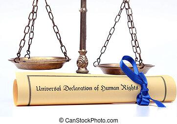 scale giustizia, e, il, universale, dichiarazione, di,...