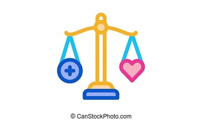 scale heart weight Icon Animation. color scale heart weight animated icon on white background