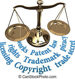 Scale IP rights legal justice concept