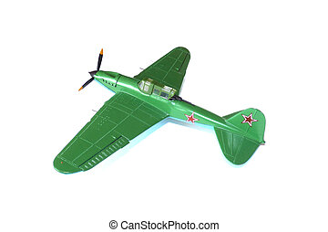 Scale model of soviet aircraft on white background