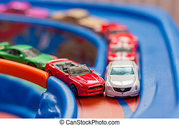 Scale model toy cars accident on the road. Traffic. Stupidity.