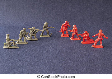 Scale models of soldiers battle scene