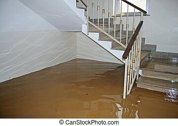 scale of a House fully flooded during the flooding of the...