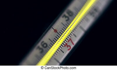 Scale Of A Mercury Thermometer - Mercury thermometer showing...