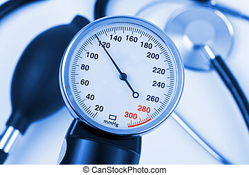 Scale of pressure and stethoscope