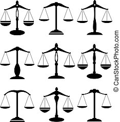 scale set - vector scale of justice set
