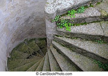 scale, sinuosità, vecchio, concreto
