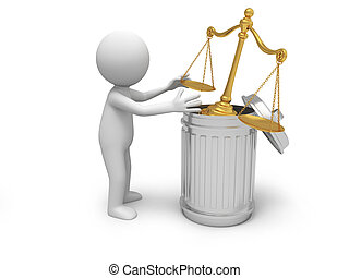 scale - A 3d person throwing a scale into a garbage can