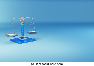 Scale. Symbol of justice - Scale on blue background. Symbol...