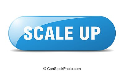 scale up button. sticker. banner. rounded glass sign