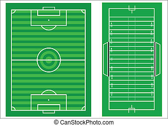 Scale vector diagrams of a soccer pitch and an american...