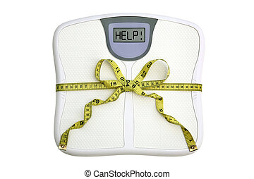 Scale with tape measure bow - A scale with a tape measure ...
