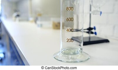 Scaled up look on chemistry measuring cylinder -...