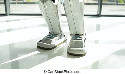 Scaled up look on robotic legs walking - First steps. Close...