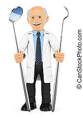 scaler, zahnarzt, öffnung spiegel, periodontal, 3d