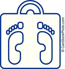 Scales and heels line icon concept. Scales and heels flat vector symbol, sign, outline illustration.