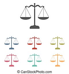 Scales balance icons set
