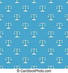 Scales balance pattern repeat seamless in blue color for any design. Vector geometric illustration