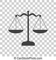 Scales balance sign. Dark gray icon on transparent...