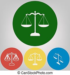 Scales balance sign. Vector. 4 white styles of icon at 4 colored circles on light gray background.