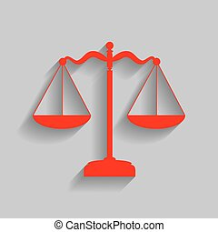 Scales balance sign. Vector. Red icon with soft shadow on gray background.