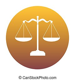 Scales balance sign. White icon in circle with golden gradient a
