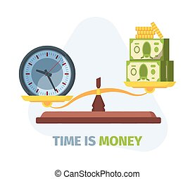 Scales balance time and money concept. Symbol of comparison ...