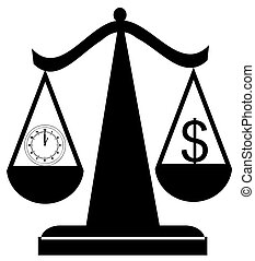 scales balancing time and money - scales of justice...