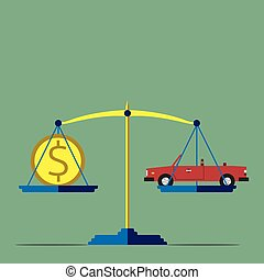 Scales with car and gold dollar coin, flat style. Cars, prices, market, investment, high cost concept. Copy space for your text. EPS 10 vector illustration, no transparency