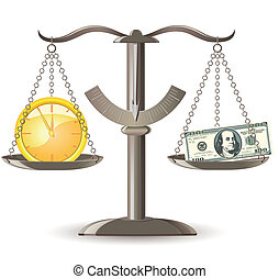 scales choice time money vector illustration