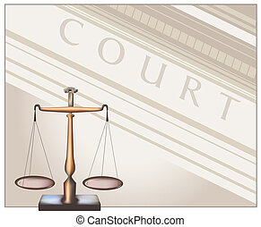 Scales - Court - Scales of Justice. Digital illustration...