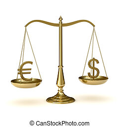 Scales euro dollar - Classic scales of justice with euro and...