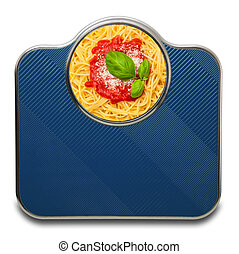 Scales for people with italian pasta in white background