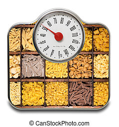 Scales for people with italian raw pasta in white background