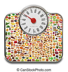 Scales for people with mix food in white background