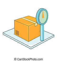 Scales for weighing goods icon, cartoon style
