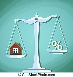 Scales for weighing with a house and percent sign. Stock Vector