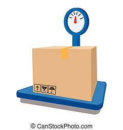 Scales for weighing with box cartoon icon